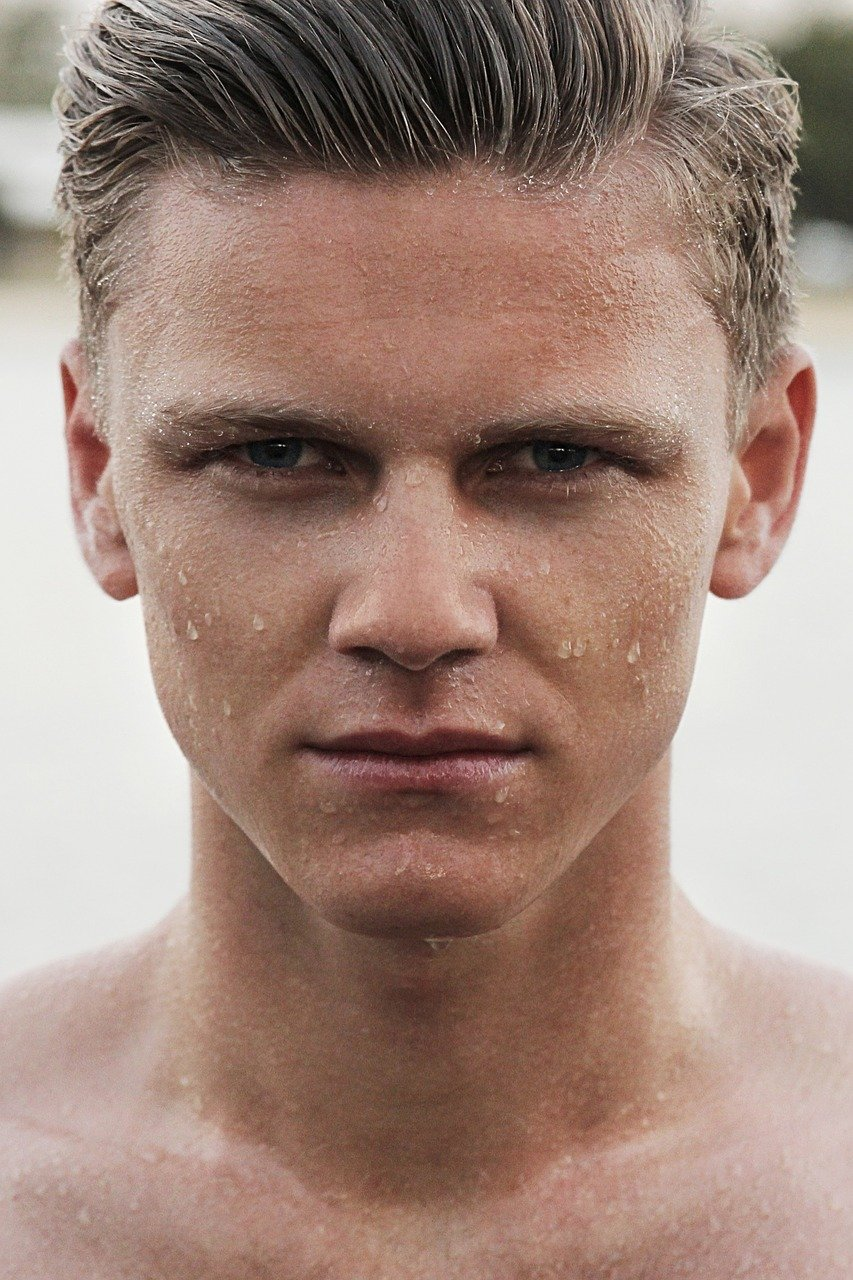 man, face, wet